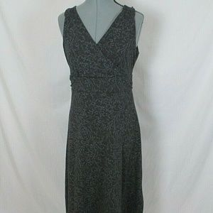 Eddie Bauer Knit Dress Floral Gray Sleeveless M